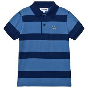 Lacoste Boys Tops Blue Blue and Navy Wide Stripe Jersey Polo