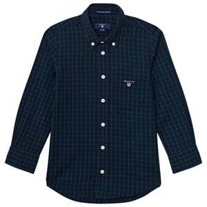 Gant Boys Tops Navy Navy and Green Check Shirt
