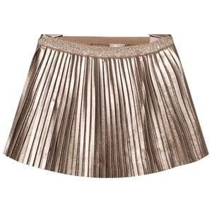 Mayoral Girls Skirts Beige Champagne Pleated Pleather Skirt
