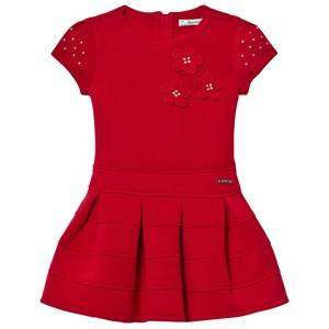 Mayoral Girls Dresses Red Red Flower Applique Milano Dress