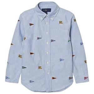 Ralph Lauren Boys Tops Blue Blue Embroidered Flag Shirt
