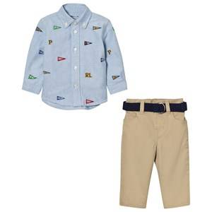 Ralph Lauren Boys Clothing sets Blue Blue Flag Shirt and Chinos Set