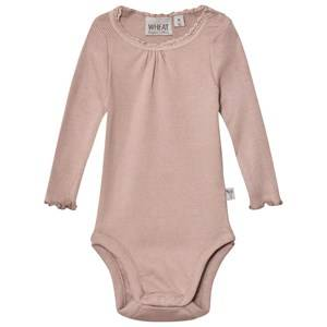 Wheat Girls All in ones Pink Baby Body Rib Lace Fawn