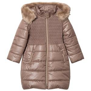 Mayoral Girls Coats and jackets Beige Mink Long Line Padded Hooded Coat