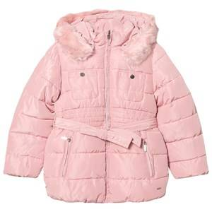 Mayoral Girls Coats and jackets Pink Pink Padded Hooded Coat with Waist Tie