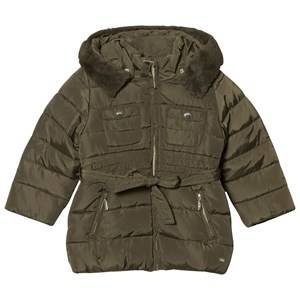 Mayoral Girls Coats and jackets Green Padded Hooded Coat with Waist Tie