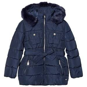 Mayoral Girls Coats and jackets Navy Navy Padded Hooded Coat with Waist Tie 4e1af140a7