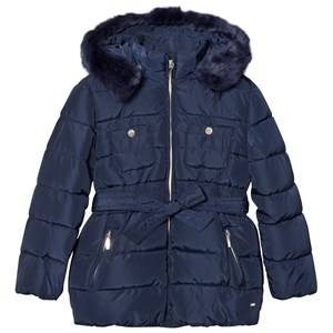 Mayoral Girls Coats and jackets Navy Navy Padded Hooded Coat with Waist Tie