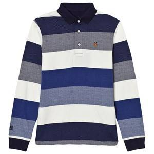 Mayoral Boys Tops Navy Navy and White Stripe Polo