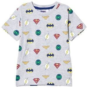 Fabric Flavours Boys Tops Grey Grey Justice League Multi Logo Tee