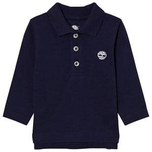 Timberland Boys Tops Navy Navy Branded Long Sleeve Pique Polo