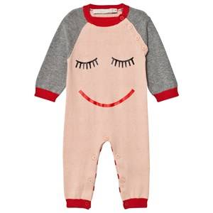Stella McCartney Kids Girls All in ones Pink Pink Face Knit Tommy Footless Babygrow
