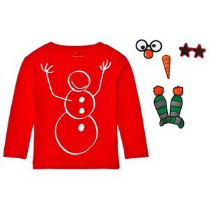 Stella McCartney Kids Boys Tops Red Red Snowman Christmas Tee