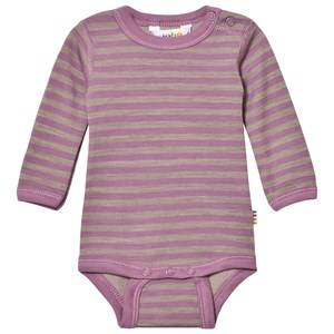 Joha Unisex All in ones Purple Long Sleeve Striped Baby Body Purple
