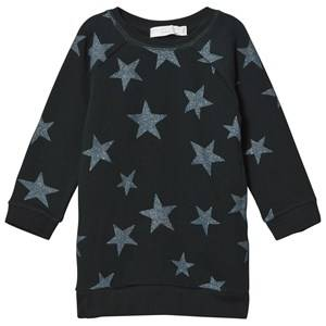 Stella McCartney Kids Girls Dresses Black Navy Glitter Stars Print Leona Dress