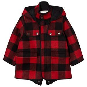 Stella McCartney Kids Boys Coats and jackets Red Red Check Beet Hooded Coat