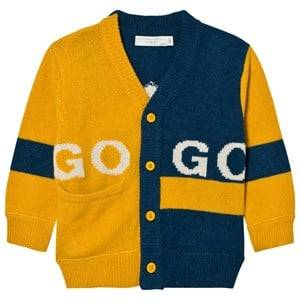 Stella McCartney Kids Boys Jumpers and knitwear Yellow Yellow and Blue Intarsia Eagle Cardigan