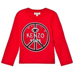 Kenzo Boys Tops Red Red Peace Sign Print Tee
