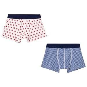 Petit Bateau Boys Underwear White Blue and Red Boxers (2 Pack)