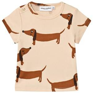 Mini Rodini Unisex Tops Beige Dog Tee Beige