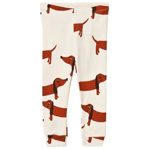 Mini Rodini Unisex Bottoms White Dog Leggings Off White