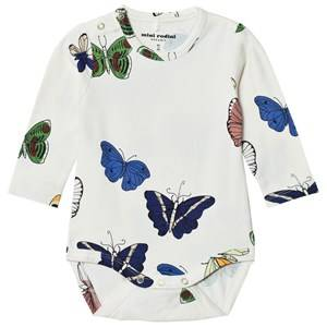 Mini Rodini Unisex All in ones White Butterflies Baby Body Off White