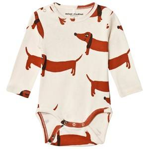 Mini Rodini Unisex All in ones White Dog Baby Body Off White