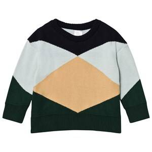 Tinycottons Unisex Jumpers and knitwear Blue Geometric Sweater Dark Navy/Light Blue/Nude/Dark Green