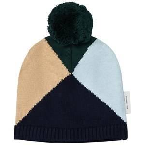 Tinycottons Unisex Headwear Blue Geometric Beanie Navy/Light Blue/Nude/Dark Green