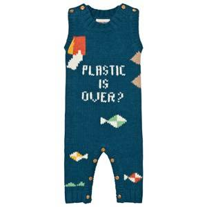 Bobo Choses Unisex All in ones Blue Plastic is Over? Intarsia Romper