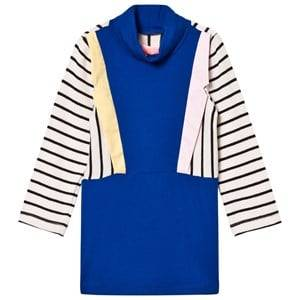 BANG BANG Copenhagen Girls Dresses Blue Blue Stripe Collared Paris Knit Dress
