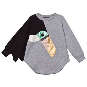 BANG BANG Copenhagen Girls Dresses Grey Grey Marl Toucan Love Bird Sweat Dress