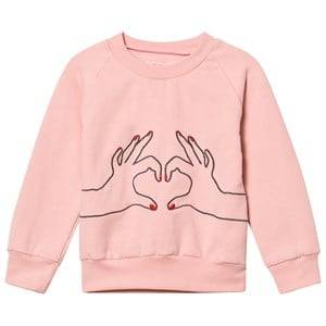 BANG BANG Copenhagen Girls Jumpers and knitwear Pink Pink Love Heart Embroidered Sweatshirt