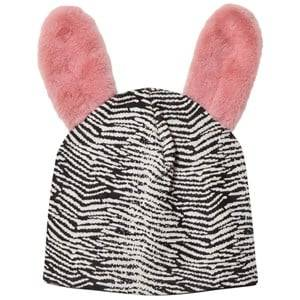 BANG BANG Copenhagen Girls Headwear Black Black/White Jump Around Fluffy Ear Beanie