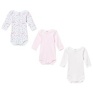 Petit Bateau Unisex All in ones White Pink/Blue Baby Bodies (3 Pack)