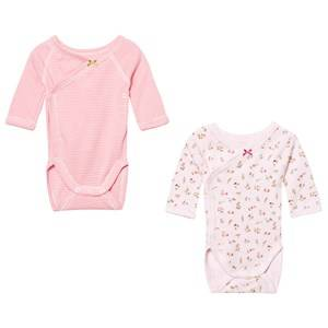 Petit Bateau Unisex All in ones White Pink Pattern Wrap Baby Bodies (2 Pack)