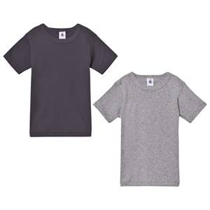 Petit Bateau Unisex Tops White Grey Cotton T-Shirts (2 Pack)