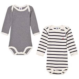 Petit Bateau Unisex All in ones White Marine Stripe Baby Bodies (2 Pack)