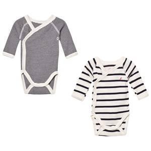 Petit Bateau Unisex All in ones White Marine Stripe Wrap Baby Bodies (2 Pack)