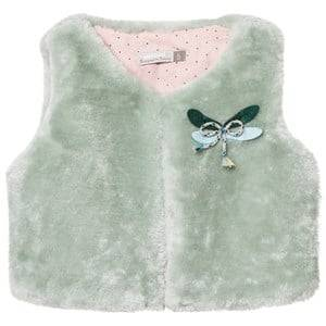 Catimini Girls Coats and jackets Green Aqua Faux Fur Gilet