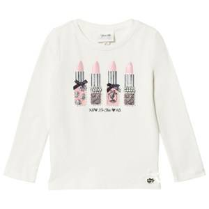 Le Chic Girls Tops White Cream Lipstick Tee
