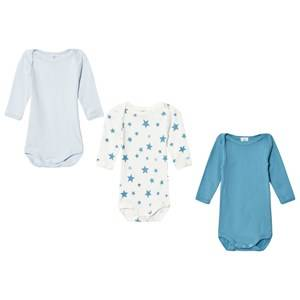 Petit Bateau Unisex All in ones White Blue Star Baby Bodies (3 Pack)