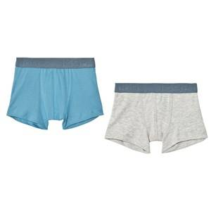Petit Bateau Boys Underwear White Blue/Grey Boxers (2 Pack)