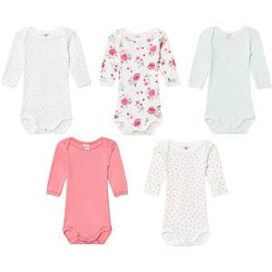 Petit Bateau Unisex All in ones White Multi Pattern Bodies (5 Pack)
