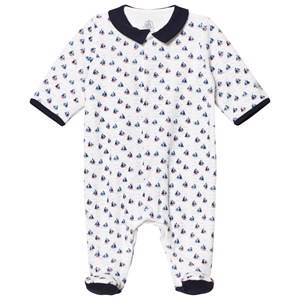 Petit Bateau Unisex All in ones White Sailboats Creme Footed Baby Body