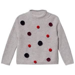 Il Gufo Girls Jumpers and knitwear Grey Grey and Multi Pom Pom Sweater