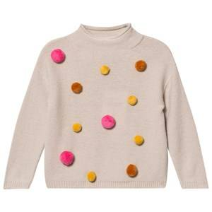 Il Gufo Girls Jumpers and knitwear Beige Beige and Multi Pom Pom Sweater