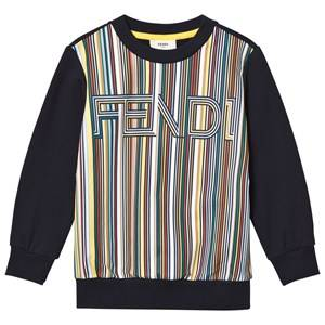Fendi Boys Jumpers and knitwear Navy Navy Multi Stripe Branded Sweatshirt