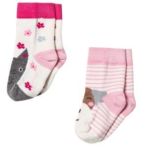 Tom Joule Girls Underwear Pink 2 Pack Cat Dog Socks