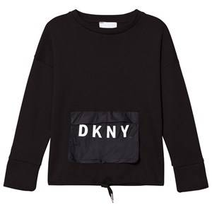 DKNY Girls Tops Black Black Branded Pocket Top